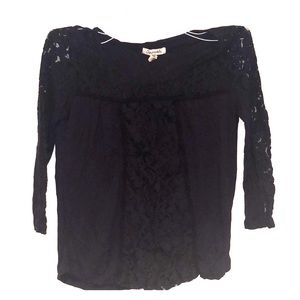 Navy Lace 3/4 Sleeve Blouse